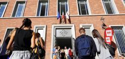 Deplacement de la Ministre de l'Education Nationale a Toulouse. Visite du Lycee Pierre de Fermat